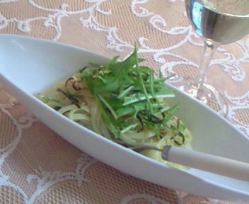 水菜のペペロンチーノ♪