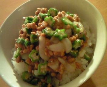 いか納豆とオクラご飯♪