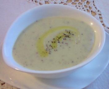さつま芋と豆乳のスープ〜正根を入れる